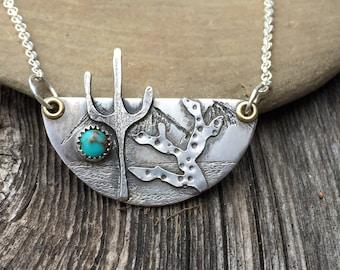 Cactus Desert Scene Sterling Silver Necklace . Vintage Turquoise . Sterling Necklace.Rustic. Necklace