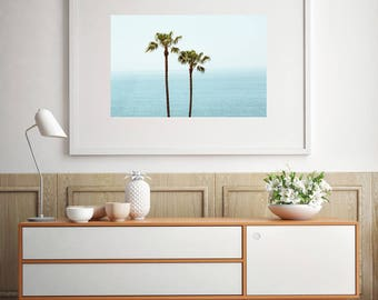 Palm tree photography, minimalist decor, los angeles photograph, palm tree print, bohemian decor, beach decor, palm trees, large wall art