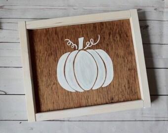 """Pumpkin - hand painted- fall sign - 11""""x9"""""""