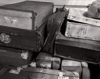 Vintage Suitcases, Don River Railway Station - Devonport, Tasmania - Australia Black & White Photography - Instant Digital Download