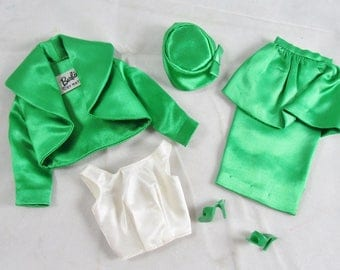 Theatre Date #959 Complete Barbie Outfit Green Satin Vintage 1963