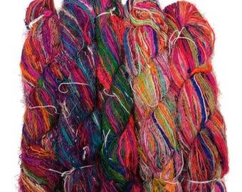 SALE Banana Silk Vegan Yarn,  Thick and thin art yarn, 100g. Multi Mix