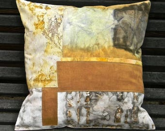 12 pillow cover, naturally dyed by contact dyeing. 40 X 40 patchwork dyed fabrics