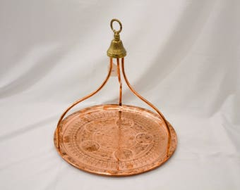 Handmade Copper Tray with handle, copper tray, copperware, copper decor, copper decoration, vintage copper