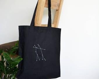 Gemini star constellation tote bag -  Gemini star sign cotton bag - Star map - May birthday - June birthday - Astronomy gift - Zodiac sign