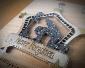 Never Forgotten Kneeling Soldier Arctic Camo Ornament