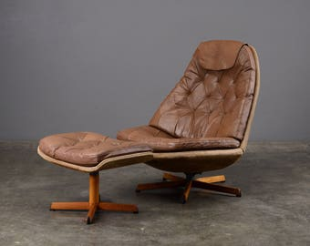 Vintage Leather Lounge Chair and Ottoman Madsen & Schubel Mid Century