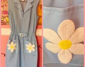 60s mod light blue daisy dress