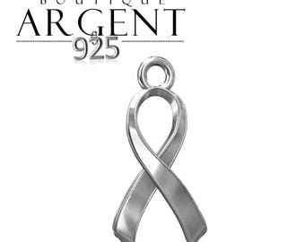 Pendant finish - 17.1 mm 925 Sterling Silver Ribbon charm