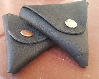 Leather Coin Purse Pouch or  Holder in Black