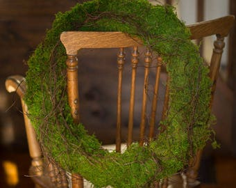Moss Wreath , Green Moss Wreath ,  Sheet Moss  , Preserved Moss Wreath, Grapevine Wreath, Angel Vine Wreath, Preserved Woodland Moss Wreath
