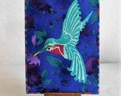 Hummingbird Fabric Postcard