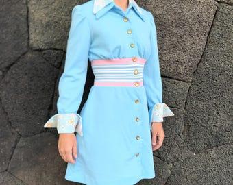 1960s blue mini mod dress