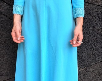 1970's Turquoise Maxi Dress