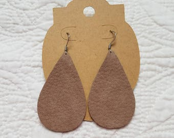 Genuine Leather Teardrop Earrings in Taupe