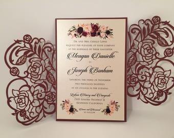 Marsala Laser Cut Wedding Invitations Pocket Wedding invitation Die Cut Laser Cut Burgundy Maroon Shimmer Marsala Floral Laser Cut Wedding