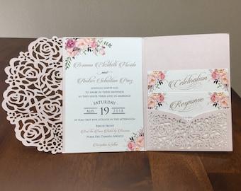 Gorgeous Laser Cut Wedding Invitations Pocket Wedding invitation Die Cut Laser Cut Jacket Traditional Navy Blush Purple Shimmer Laser Cut
