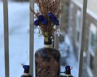 Handcrafted bourbon bottle decoration