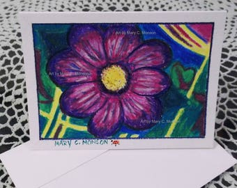 Purple on the Meadow - WATERCOLOR greeting card - ORIGINAL - Hand painted - FREE Shipping!