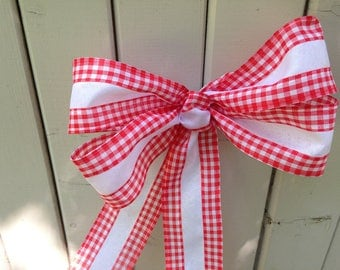 Gingham red white Wreath Bow rustic country Chair Pew wedding gift bows summer party buffet table