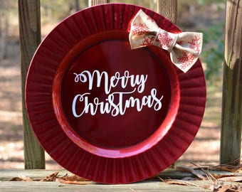 Holiday Plate Decor With Bow  - Merry Christmas Design
