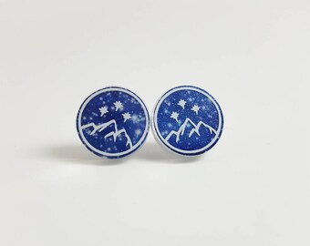 Glitter Night Court Earrings <More Options Available> <Stainless Steel> <.6 inch circles>
