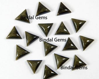 25 Pcs Natural Gold Sheen Obsidian Triangle Shape Smooth Calibrated Cabochon Loose Gemstone