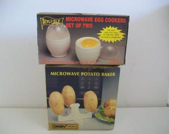 1980s Microwave Cookware: eggs; baked potatoes