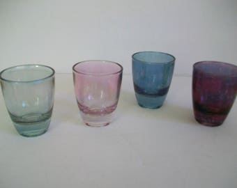 A set of 4  French 50s 60s Coloured Shot Glasses