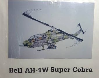 Cross Stitch Kit AH-1W Super Cobra Helicopter Counted Cross Stitch Chart Military Aviation Needlework Craft