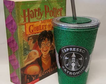 Slytherin House Themed Travel Cups - Glitter Starbucks cup - Harry potter inspired