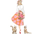 Fashion Illustration Printable - Mother's Day Card - Mother's Day Printable -Fashion Printable - Fashion Wall Decor - Cats Printable - Cat