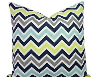 15% OFF SALE Two Decorative Pillow Covers - Blue and Green Chevron Pillows - Green Chevron Pillow - Navy Chevron Pillow - Blue Pillow Sham -