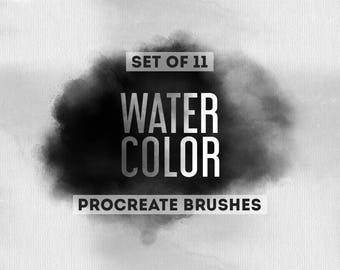 Watercolor Procreate Brushes - Set of 11 brushes - For the iPad app Procreate - Digital brushes - Digital art resources