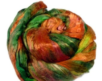 SALE Mulberry Silk roving, hand dyed CITRUS