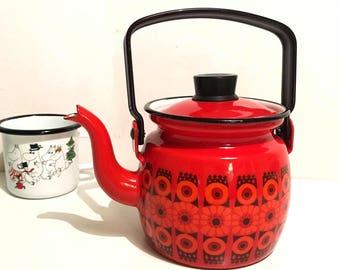 60s vintage teapot enamel coffee pot Arabia Finel Kaj Franck Gift Mother's Day Daisy with lid Scandinavian Finland pitcher red floral