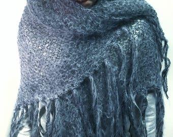 Knitted shawl handmade unique mohair shawl. Swedish design. Handcraft christmas gift scandinavian greyish blue knitted shawl knit wrap