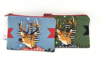 Mini zipper pouch Holiday Homies Buck