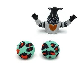 leopard print stud earrings - rockabilly earrings - pinup jewelry - psychobilly accessories - fabric earrings