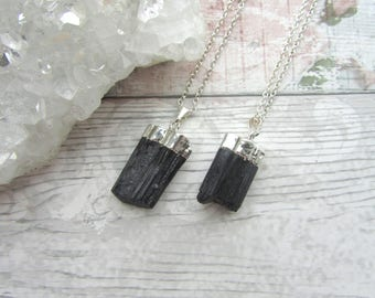 Black Tourmaline Pendant - Electroplated Raw Rough Rock Necklace, Gemstone Silver Plated