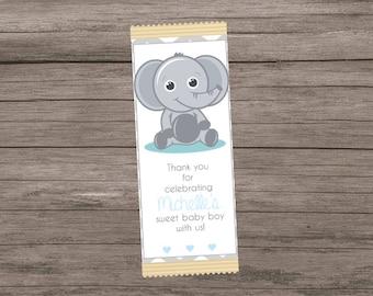Elephant Candy Bar Wrapper, Elephant Baby Shower Favor, Full Size Candy Bar Wrapper, Baby Shower Candy Favor
