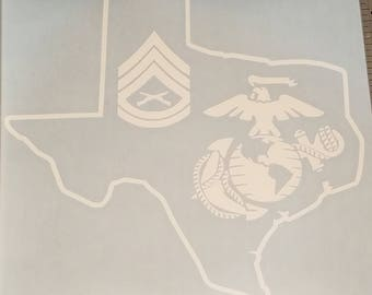 Texas Marine Corps USMC Window Decal, Customizable Rank
