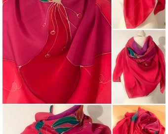 Unique and Hand painted Crepe de chine Silk Scarf in Shades of Magenta