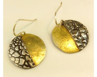 Gold plated and sterling silver metal circular earrings