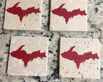 Travertine Stone Coasters - UP Symbol Red (Set of Four)