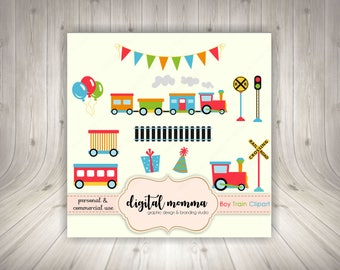 Boy Choo Choo Train Clipart, Birthday Train Clipart, .PNG, Personal & Commercial Use, Instant Download!