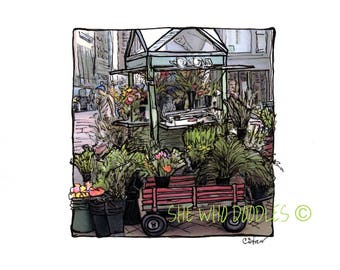 Downtown Portland Oregon Flower Cart, Doodled Photo,