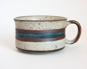 Vintage Otagiri Horizon Replacement Soup Mug Wide Teacup Coffee Cup, Blue Stripe Stoneware