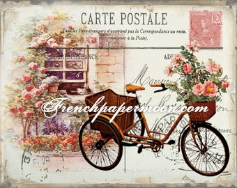 Digital Shabby Carte Postale Bicycle, Vintage Bike Carte Postale, French Pillow Transfer Graphic, Large Image