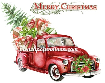 Digital Red Christmas Pickup Truck, Presents, Christmas Tree, Christmas Pillow, Fabric Transfer, Iron On Fabric, DIY Christmas Crafts